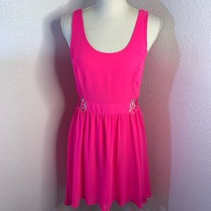 Lush Neon Pink High Low Cut Out Dress